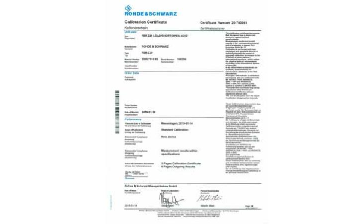 Rohde&Schwarz   Accredited Calibration