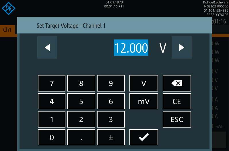 Rohde & Schwarz NGL200 Touchscreen keyboard -Allice Messtechnik