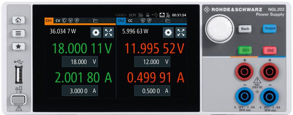 Rohde & Schwarz NGL201 NGL202 Displayansicht -Allice Messtechnik